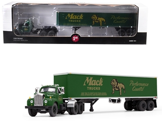 "Mack B-61 Day Cab with 40 Vintage Trailer ""Mack Trucks: Performance Counts"" Green 1/64 Diecast Model by First Gear, First Gear Item Number 60-0402"