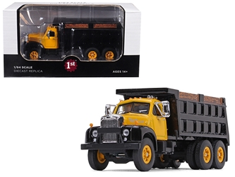 Mack B-61 Tandem Axle Dump Truck Yellow Cab/ Black Body 1/64 Diecast Model by First Gear, First Gear Item Number 60-0403