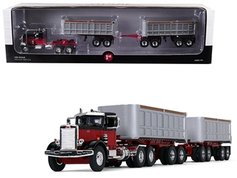 Peterbilt Model 351 Day Cab Black and Red with Dual 22 End Dump Trailers 1/64 Diecast Model by First Gear, First Gear Item Number 60-0414