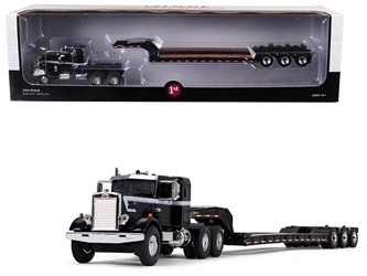 Peterbilt Model 351 Sleeper Cab 36 with Tri Axle Lowboy Trailer Black 1/64 Diecast Model by First Gear, First Gear Item Number 60-0415