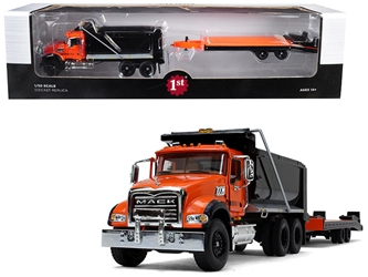 Mack Granite MP Tandem Axle Dump Truck with Beavertail Trailer Orange and Black 1/50 Diecast Model by First Gear, First Gear Item Number 50-3403
