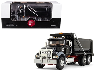 Mack Granite MP Dump Truck Black with Red Chassis 1/50 Diecast Model by First Gear, First Gear Item Number 50-3386