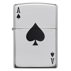 Zippo Windproof Lighter Simple Spade Design High Polish Chrome by Zippo Item Number 24011