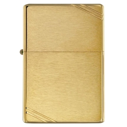 Zippo Windproof Lighter Vintage Brushed Brass w/Slashes by Zippo Item Number 240