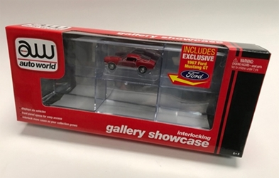 Six-Car Interlocking Acrylic Display Case with Exclusive Auto World Car 1:64 by Auto World Item Number AWAWDC018