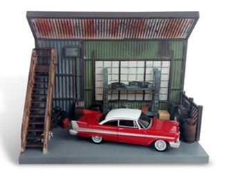 Darnells Garage Diorama with 1958 Plymouth Fury - Christine 1983 Auto World 1:64 Scenic Display 2018 by Auto World Item Number AWAWSD001