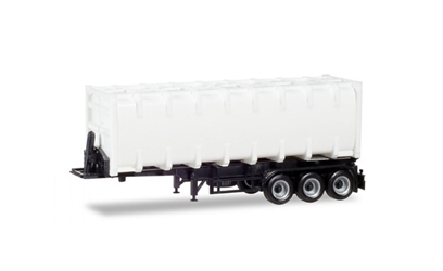 30 Bulk Container with Chassis in White - Trailer Only high quality plastic 1:87 by Herpa Item Number HE076234