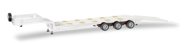 3-Axle Goldhofer Low Boy Trailer with Ramps in White (1:87), Herpa Item Number HE076371WT