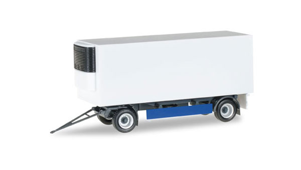 2-Axle Refrigerated Trailer in Blue and White - Trailer Only (1:87), Herpa Item Number HE076777